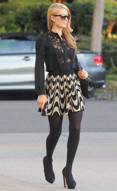 Paris Hilton out and about in Los Angeles, America - 09 Jan 2014 Nylons, Pantyhose Outfits, In Pantyhose, Paris Fashion, Love Fashion, Womens Fashion, Steampunk Fashion, Gothic Fashion, Fashion Tights