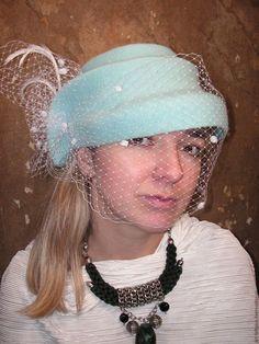 """Купить Шляпка """"Дыхание Парижа""""(5) - бирюзовый, однотонный, вуаль, вуаль шляпная, Вуаль для шляп"""