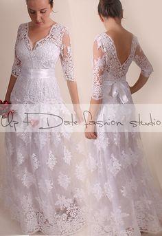 Wedding dress/ Vneck front&back/Recepion/ long /mаxi/ lace dress/ Bridal Gown by UpToDateFashion on Etsy