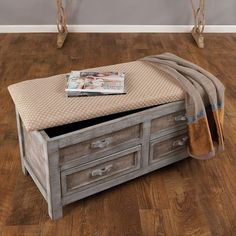 Asheville Bench in Verdigreen - Maison Maison on Joss and Main.  Great storage piece for bedroom or living room.