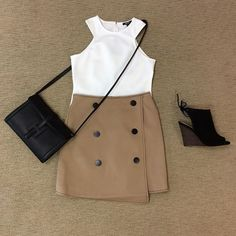 WEBSTA @ effiesinc - #Lookoftheday This new high waisted button front detail skirt is the perfect transitional piece for your wardrobe! Also available in black! #highwaistedlove #fallherewecome #cutintank #crossbody #shopeffiesinc www.effiesinc.com/cameo-all-falls-down-skirt.html