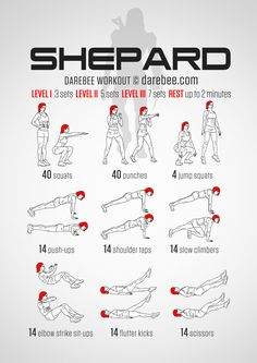 """puts some more mass to your muscles, streamlining your body for the action you know will inevitably come"" Female Shepard #Workout from DareBee ... 40 of each: Squats, Punches, 14 of each: Push-Ups, Shoulder Taps, Slow Climbers, Elbow Strike Sit-Ups, Flutter Kicks, Scissors, 4 Jump Squats ... #Video of full set performed by #DareBee at https://youtu.be/PyUP10dh8CE?list=PLVi6WHwc0tDK-519ni_LJUsgC__YrCTxb"
