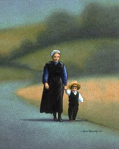 Amish Mother | by Eric Dowdle | An Amish mother guides her child's feet to where they should go. This painting illustrates the trust and love that exist between a mother and her child. ~ Fine Art Print