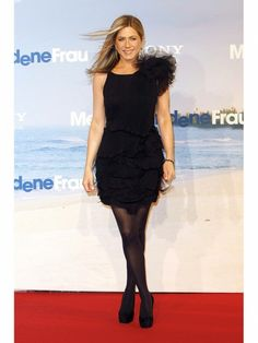 Jennifer Aniston Style Trick: Try Black Tights for Evening.. Don't usually like short dresses, but the ruffles add undeniable class that makes her stand out in a positive way. Iconic!
