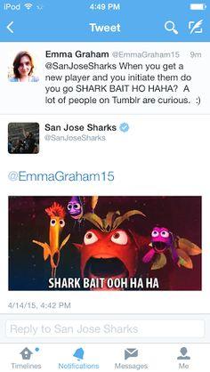 haha look!  The San Jose Sharks Tweeted me back!!!