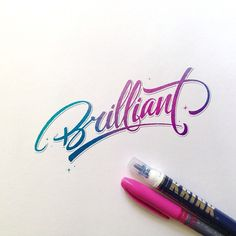 ritchieruiz Brilliant lettering with @krinknyc wather, pencil, and colors !! 282/365 #lettering #calligraphy #krink #brilliant