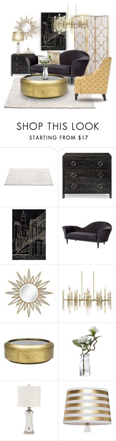 """Black & Gold"" by missblue1 on Polyvore featuring interior, interiors, interior design, дом, home decor, interior decorating, Gubi, Chateau Lux, Jonathan Adler и Linea"