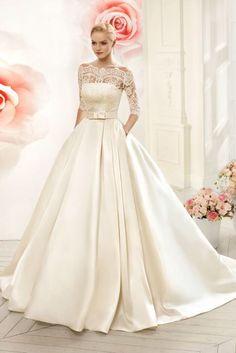 Prinsessen trouwjurk van satijn bruidsjurk met kanten top