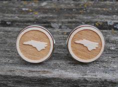 Wood STATE Cufflinks. NORTH CAROLINA, Laser Engraved. Wedding, Men's, Groomsmen Gift, Dad. Custom Orders Welcome. Unique Christmas Gift by TreeTownPaper on Etsy