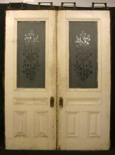 "66""x84"" Antique Pair Entry Black Walnut Pocket Sliding Doors Etched Glass Panel"