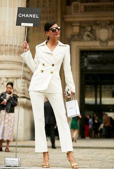 The Bride of Fashion Giovanna Battaglia wore it all stylish chic 'Bridal White' during FW16 Haute Couture Fashion Week.