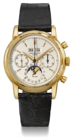 Patek Philippe. An extremely fine and rare 18K gold perpetual calendar chronograph wristwatch with phases of the moon #ChristiesWatches