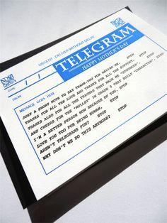 Mothers Day Telegram Letterpress Gift Card. $5.50, via Etsy.