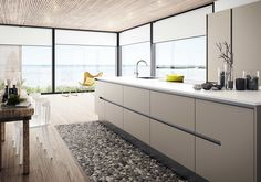 Kjøkkendesign til det moderne liv: Finn dine nye kjøkkenmøbler New Kitchen, Kitchen Dining, Kitchen Cabinets, Kitchen Ideas, Dining Room Inspiration, Interior Inspiration, Layout Design, European Kitchens, Stone Flooring