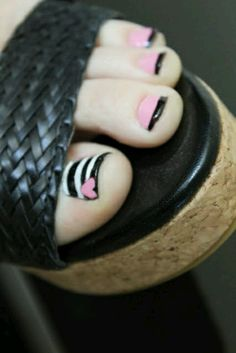 55 simple nail art designs for short nails: 2016 pretty toes Get Nails, Fancy Nails, How To Do Nails, Hair And Nails, Simple Nail Art Designs, Toe Nail Designs, Nail Polish Designs, Cute Toenail Designs, French Pedicure Designs