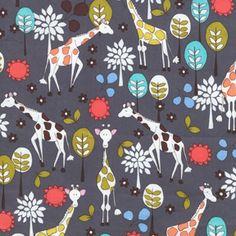 Michael Miller gray giraffe garden