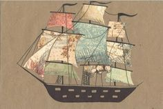 Inspiration for the Embroidered and Appliqued Ship - can't find original