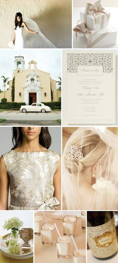 White and champagne for an elegant wedding.