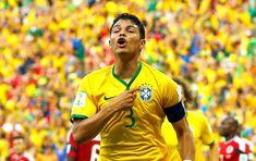 Thiago Silva gol jogo Brasil x Colômbia (Foto: Reuters). 04/07/2014.