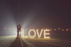 Festoon Lights and Giant Light Up LOVE Letters | Rustic Wedding | DIY Decor | Wedding at Home | Marquee Reception | | Image by Rebecca Douglas Photography | http://www.rockmywedding.co.uk/vic-alex/