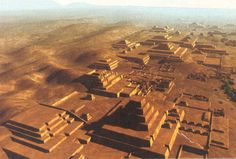 The pyramids and temples of Caral, in Peru. Construction possibly began as early as 3500 BC meaning these pre-Incan peoples got the jump on Egypt by half a millennium. The truly remarkable part is that they began their civilization not on agriculture but on seafood which was in rich supply. Pan-Andean traditions such as the love of weaving and fiber and certain deities were established at this very early period, a level of continuity matched only by China. Approx 3300 BC. Artist unknown.