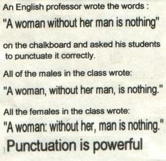 The joy of punctuation...