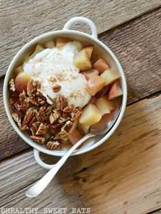 """This 5-Minute Cinnamon-Pecan """"Baked"""" Breakfast Apple is the perfect healthy autumnal breakfast. As days shorten the air takes on a crisp chill and the splendor of fall's beauty sets in; my mind slo…"""
