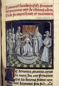 Baudouin III, Baudouin IV et Baudouin V sont les seuls rois de Jérusalem qui parvinrent au trône avant d'avoir atteint l'âge de la majorité. [BNF, Mss fr. 68, folio 233 - Couronnement de Baudouin III]