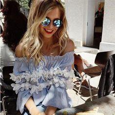 Elegant Off the Shoulder Floral Blue Summer Blouse