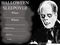 For older kids - this is a  great invitation that you can fill in the blanks and personalize to suit your party - click on the image and it willopen big and you can then print - free - however many invitations you need for the number of friends you are inviting to your Halloween sleepover party!