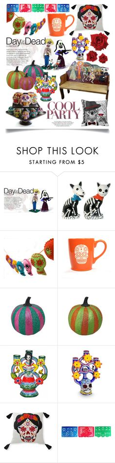 """Day of the Dead Style"" by ittie-kittie ❤ liked on Polyvore featuring interior, interiors, interior design, home, home decor, interior decorating, NOVICA, Blissliving Home and Dayofthedead"
