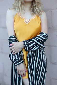 """The Yellow Story - """"Femme Fatale"""" photo by NextDimensional • Clothing: @akcollective #minneapolis #vintage #stripes #yellow #lace"""