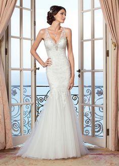 Vestido de novia Encaje Alto cubierto largo Escote en V Sala Natural
