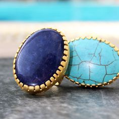 Perfectly Bold Turquoise and Agate gold plated rings