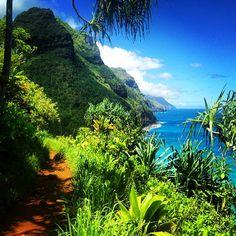 Let your hair down & let's run away to Hawaii...  Kalalau trail along the coast in Kauai. #Hawaii #Kauai #Island #Paradise #KalalauTrail #NorthShore #Tropical #Hiking #Destination #Travel #Wanderlust #NaPaliCoast  #PacificOcean #HawaiianIslands #Hawaiian #GetAway #Vacation