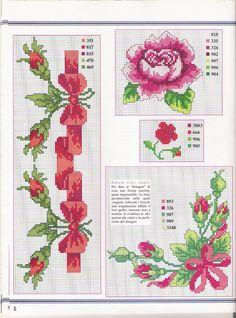 roses and ribbons, center border and corner  CURIOSA CORUJA: Gráfico Pt Cruz - Flores