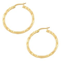 Fremada 14k Gold Hammered Hoop Earrings