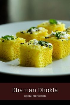 It does not get much better than combining your favorite Indian vegetarian snack with a pressure cooker. Learn how to make this soft, spongy Khaman Dhokla at home. Detailed step by step recipe video included. Sweets Recipes, Indian Food Recipes, Vegan Recipes, Snack Recipes, Yummy Recipes, Easy Snacks, Yummy Snacks, Delicious Desserts, Yummy Food