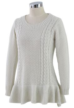 Frill Hem Knitted Top in Off-white - Retro, Indie and Unique Fashion