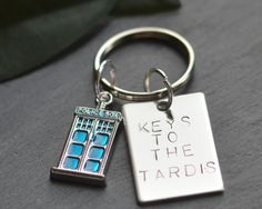 Doctor Who Keyring, Tardis Keychain, Dr Who Keys, Whovian Keyfob, Gift For Him, Police Box, Dad Fathers Day, Time Lord Car by HowCharmingByLucy on Etsy https://www.etsy.com/uk/listing/251479354/doctor-who-keyring-tardis-keychain-dr