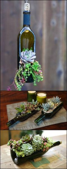 Turn Wine Bottles into Gorgeous Succulent Planters #Bottle #Succulent #Diy