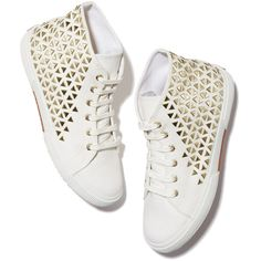 Superga xo Jennifer Meyer Studded Sneaker Goop ❤ liked on Polyvore featuring shoes, sneakers, gold sneakers, gold hi top sneakers, gold studded sneakers, high top shoes and studded high top sneakers