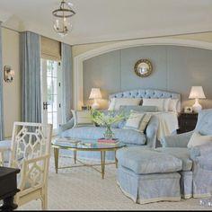 Soft Blue and white in a bedroom is always very peaceful #peacefulroom #blueandwhitebedroom #interiordesign #bedroomideas