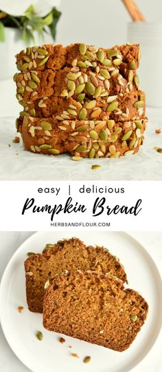 This Easy Pumpkin Bread recipe is moist, delicious and super easy to make! It comes together in one bowl, making for a super simple clean up too!
