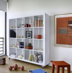 Excellent Mobile Wheeled Shelving Unit Idea in White Finish with Sixteen Cubes Shelves in Four Levels and Rectangular Shelving Unit Design