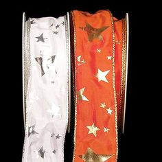 "White and Silver ""Sterne"" Star Print Wired Craft Ribbon 1.5"" x 54 Yards -- For more information, visit image link."