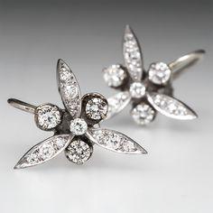 Retro+Vintage+Diamond+Earrings+14K+White+Gold+1950s