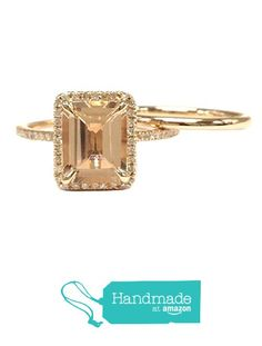 Emerald Cut Morganite Engagement Ring Bridal Set Pave Diamond Wedding 14K Rose Gold 6x8mm from the Lord of Gem Rings https://www.amazon.com/dp/B01GXYGHEY/ref=hnd_sw_r_pi_dp_04dHxbC0CRC17 #handmadeatamazon