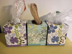 Use empty tissue boxes to corral plastic bags. Who doesn't have a kajillion bags laying around...if you want to make them match or decor-appropriate, wrap the box in paper, wall-paper, tape, etc.