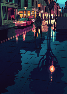 Rainy night in London. Illustration Nocturne, Night Illustration, Japon Illustration, Digital Illustration, London Illustration, Rainy Street, Arte Cyberpunk, City Drawing, Anime Scenery Wallpaper